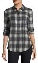 Vince Plaid Button-Front Oversized Cotton Shirt