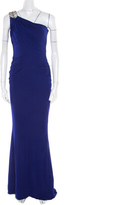 Badgley Mischka Blue Knit Embellished One Shoulder Gown S