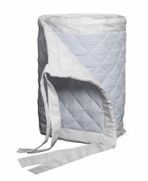 Thumbnail for your product : Bovi Fine Linens Baby Seersucker Crib Bumper, White/Blue