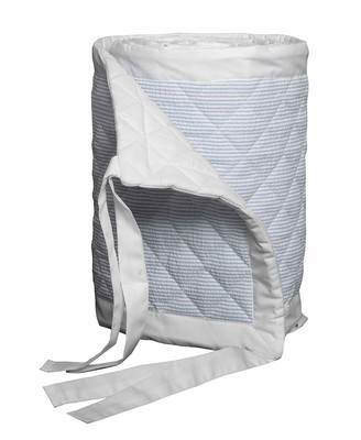 Bovi Fine Linens Baby Seersucker Crib Bumper, White/Blue