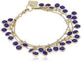 """Anne Klein Beacon"""" Gold-Tone and Blue Three Row Shaky Bracelet, 7.5"""""""