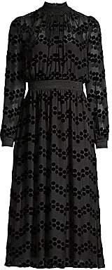 Tory Burch Women's Devore Velvet Polka Dot Sheer Blouson Dress