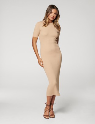 Forever New Yazmin Rib Tee Midi Knit Dress - Camel - 10