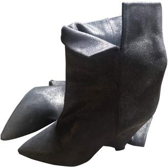 Isabel Marant Luliana Anthracite Leather Ankle boots