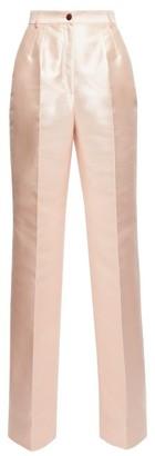 Dolce & Gabbana High-rise Mikado-silk Wide-leg Trousers - Womens - Light Pink