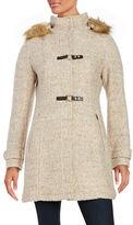 Ivanka Trump Faux-Fur Trimmed Hooded Wool-Blend Coat