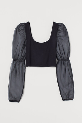 H&M Short Puff-sleeved Top