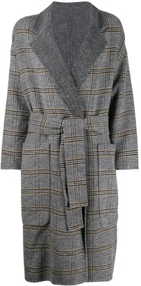 Twin-Set Check Patterned Double-Breasted Coat