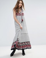 Raga Dreamweaver Maxi Dress with Printed Yoke and Hem