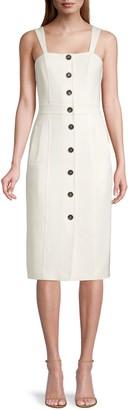 Donna Karan Double Weave Button-Front Dress