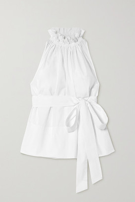 ARoss Girl x Soler Gretchen Belted Ruffled Cotton-poplin Top - White