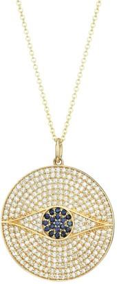 Nina Gilin 14K Yellow Gold, Diamond Pave & Sapphire Evil Eye Medallion Necklace