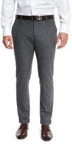 Giorgio Armani Melange Flat-Front Trousers, Gray