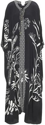 Camilla Tie-neck Embellished Printed Silk-crepon Kaftan