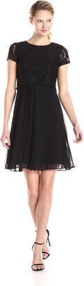 Adrianna Papell Women's Pop Over Lace Pleated Chiffon Dress