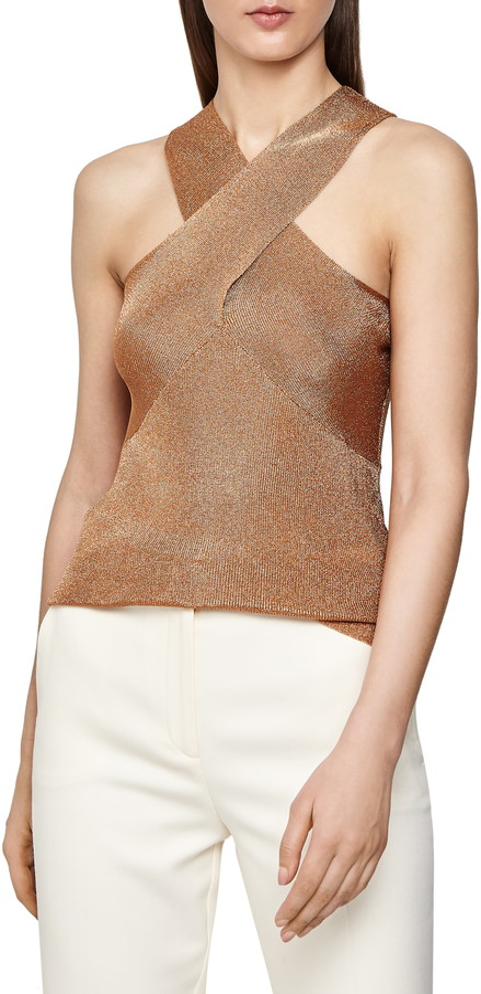 Reiss Imogen Metallic Cross Front Sleeveless Sweater