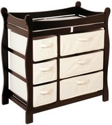 Badger Basket Sleigh Changing Table with 6 Baskets - Espresso
