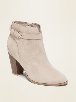 Old Navy Faux-Suede Buckled-Strap High-Heel Booties for Women