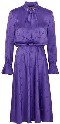 Boutique Moschino Purple Satin-jacquard Midi Dress