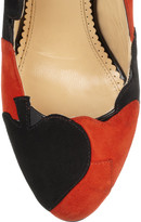 Charlotte Olympia Lady Luck suede wedge pumps
