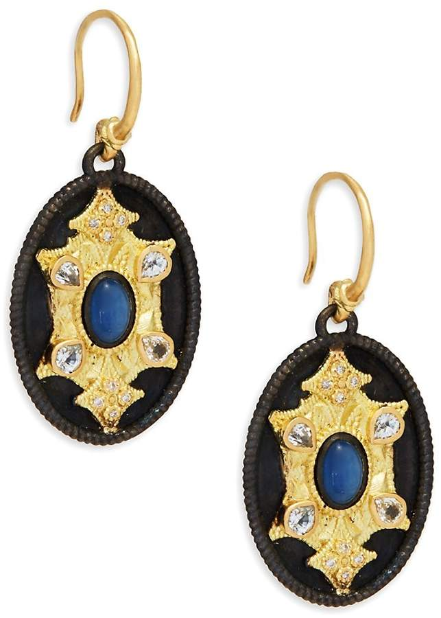 Armenta Women's Old World Sapphire & Yellow Gold Medallion Drop Earrings