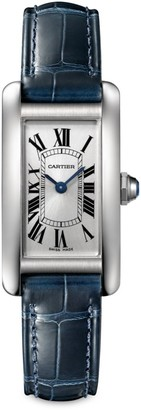 Cartier Tank Americaine Small Stainless Steel & Navy Alligator-Strap Watch