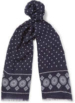Drakes Drake's Printed Modal, Cashmere And Silk-Blend Scarf