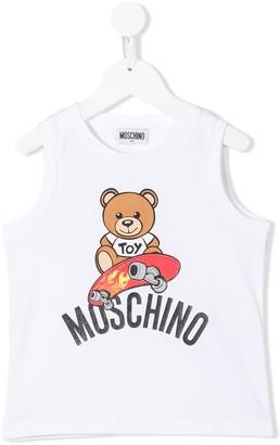 MOSCHINO BAMBINO Logo Teddy Print Tank Top