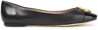 Tory Burch Logo-embellished Smooth And Patent-leather Ballet Flats