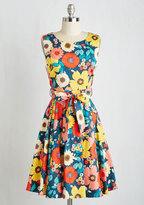 Ixia Hour by Flower A-Line Dress in Retro Blossom