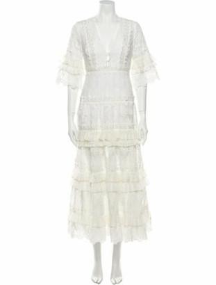 Alexis Lace Pattern Long Dress White