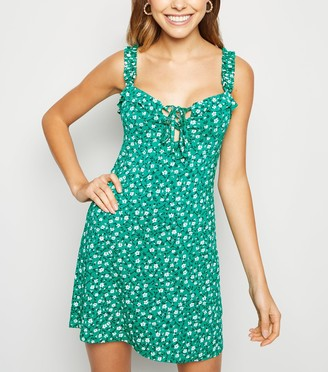 New Look Ditsy Floral Lace Up Sundress