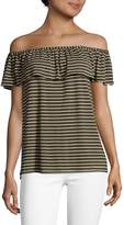 Max Studio Women's Striped Off Shoulder Top - Army, Size x-small