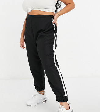 ASOS DESIGN Curve woven jogger with side stripe in mono