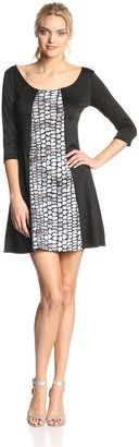 Star Vixen Women's Colorblock Print A-Line 3/4 Sleeve Dress Black/Grey Medium