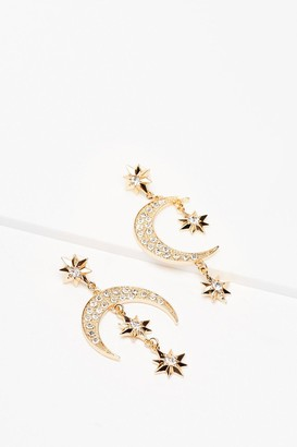 Nasty Gal Womens Shoot for the Moon Star Drop Earrings - Metallics - One Size