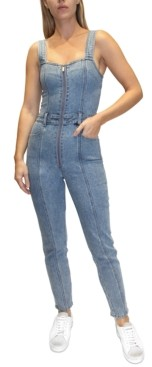 Almost Famous Juniors' Zip-Front Skinny Denim Overalls