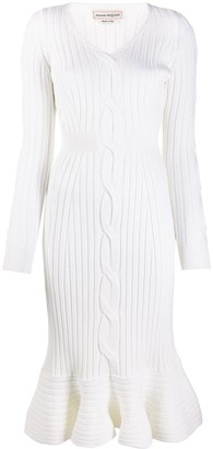 Alexander McQueen Ribbed Knitted Midi Dress