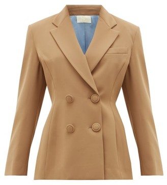 Sara Battaglia Double-breasted Jacket - Womens - Light Brown