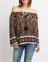 Charlotte Russe Printed Tie-Front Off-The-Shoulder Top