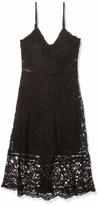 Moon River Women's Strappy Lace Fit and Flare Dress