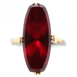 Non Signé / Unsigned Non Signe / Unsigned Art Deco Burgundy Yellow gold Rings