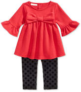 First Impressions 2-Pc. Bow Tunic and Dot-Print Leggings Set, Baby Girls (0-24 months), Created for Macy's