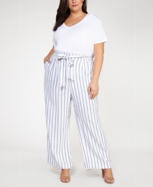 Black Tape Plus Size Striped Belted Pants