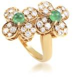 Van Cleef & Arpels Trefle 18K Yellow Gold Diamond & Emerald Flower Ring