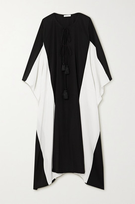 Fil De Vie Palace Two-tone Silk Crepe De Chine Kaftan - Black