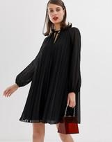 Asos Design DESIGN pleated trapeze mini dress with tie neck