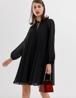 Asos Design DESIGN pleated trapeze mini dress with tie neck-Black