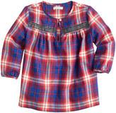 J.Crew Girls' embellished plaid popover shirt