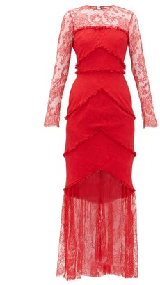 Emilio De La Morena Lace-panel Sheer Hem Gown - Red